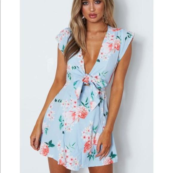 3945b3278f1 White Fox Carrie Mini Dress Baby Blue Floral. M_5acaee9ea4c485319532a96a